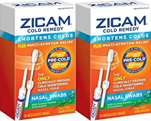 Zicam Cold Remedy Nasal Swabs with Cooling Menthol & Eucalyptus, 20 Count (Pack of 2)