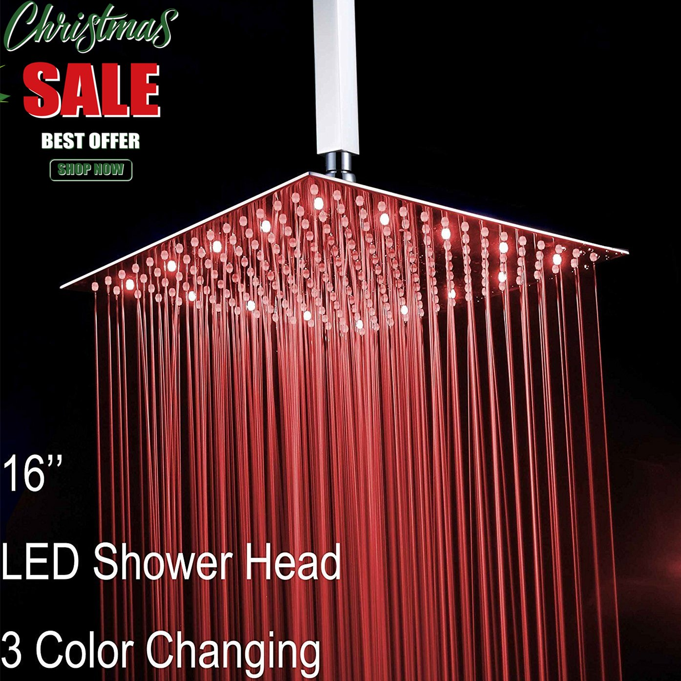 Fyeer 16'' Square LED Fixed Rainfall Shower Head Ultra-thin Ceiling Mounted, 3-LAYER Luxury Bathroom Showerheads Mirror Chrome Polished 304 Stainless Steel, Temperature Sensor 3 Colors Changing by Fyeer (Image #1)
