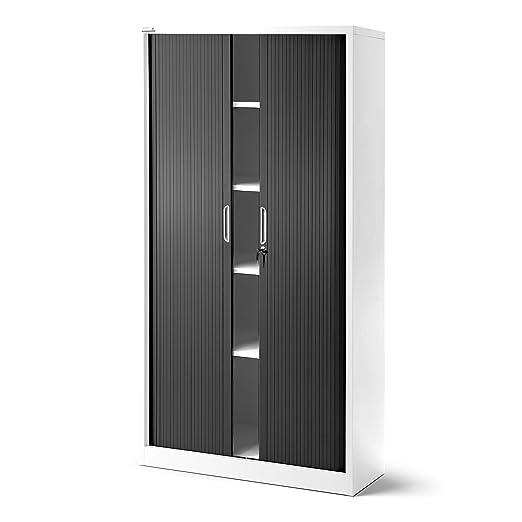 Armario de persiana T001, armario universal para archivadores, para despacho, armario con persiana transversal, con puertas correderas, con cerradura, ...