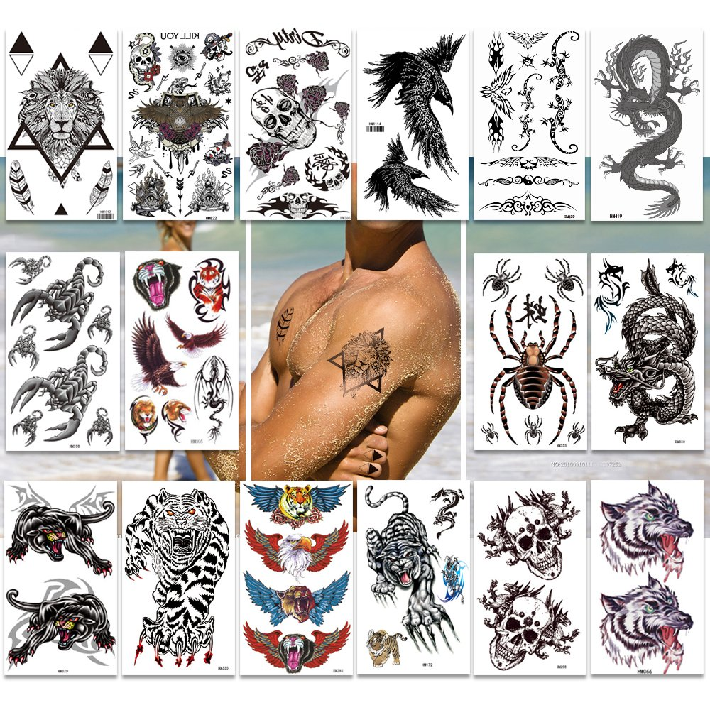 Temporary Tattoos Pack of 16 Sheets for Men Teens Guys Boys Large Fake Tattoo Stickers,200+ Body tattoos Designs,Cool Collection for Arms Shoulders Chest & Back