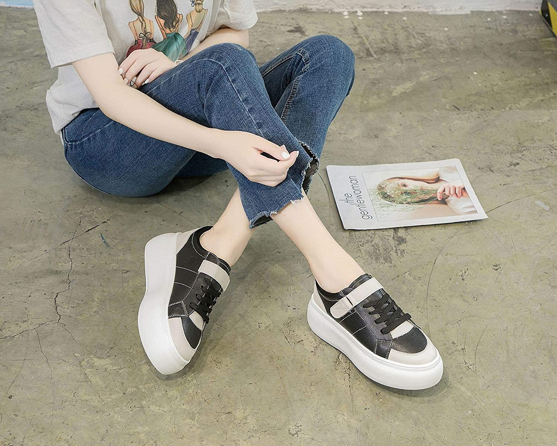 KPHY Damenschuhe - Sommer Frauen Schuhe Leder Wild Dicke Hintern Sommer - Herbst Student Street Pat Schwarz 36 f384ea