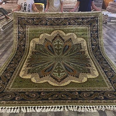 Persian Silk Rug 8x10 Green Handmade Large Oriental Area Silk Carpets For Living Room Yuchen Carpet