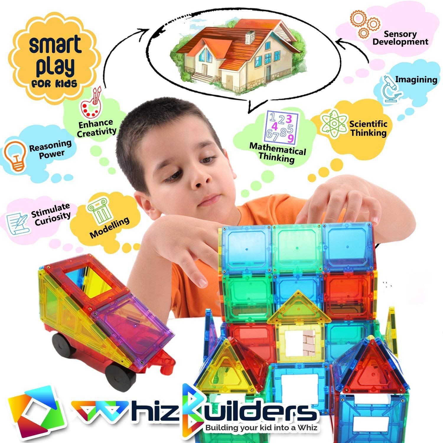 Magnetic Building Tiles Toys Set - Tiles Block Toy Kit for Kids - STEM Educational Construction Stacking Shapes - 60 Pieces by WhizBuilders (Image #6)