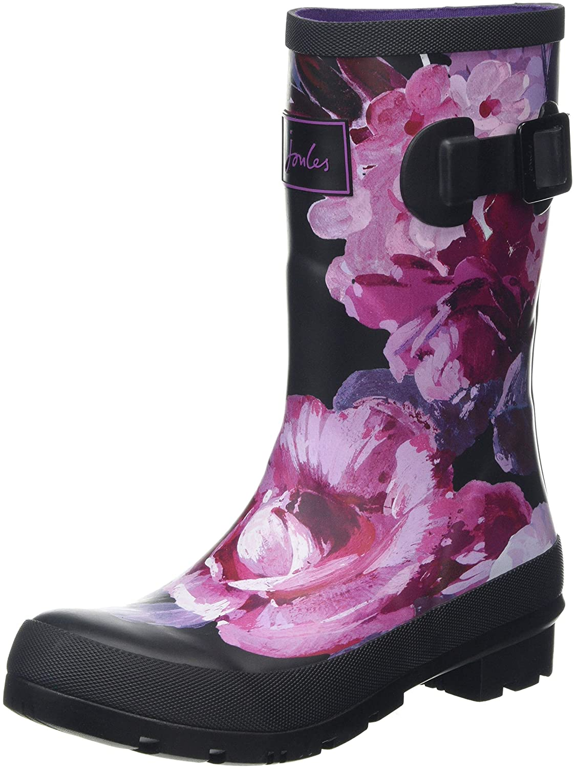 Black Winter Floral Joules Women's Molly Welly Rain Boot