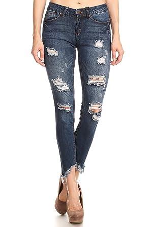3ad7d39de944 wax jean Women's Slim Distressed 5 Pocket Junior's Denim Jeans at ...