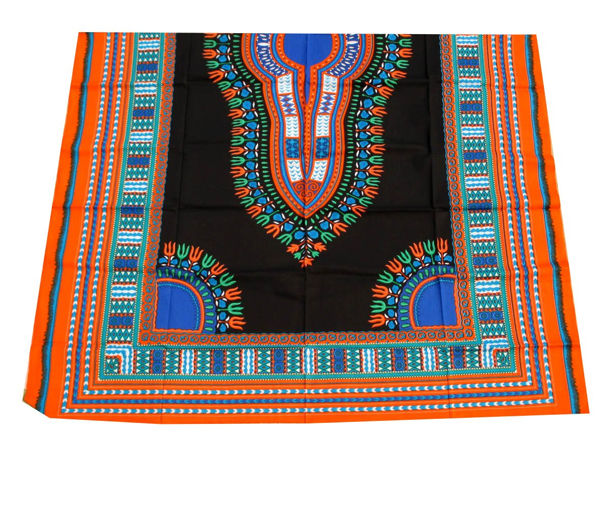 RaanPahMuang African Dashiki Black Cotton Fabric Suitable for 1 Shirt Design, Multicolour Orange by Raan Pah Muang   B01B1JP1CU