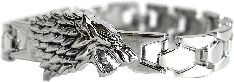 Pulsera plateada con diseño de lobo inspirada en Jon Snow de Juego de Tronos, incluye estuche de regalo: Amazon.es: Joyería