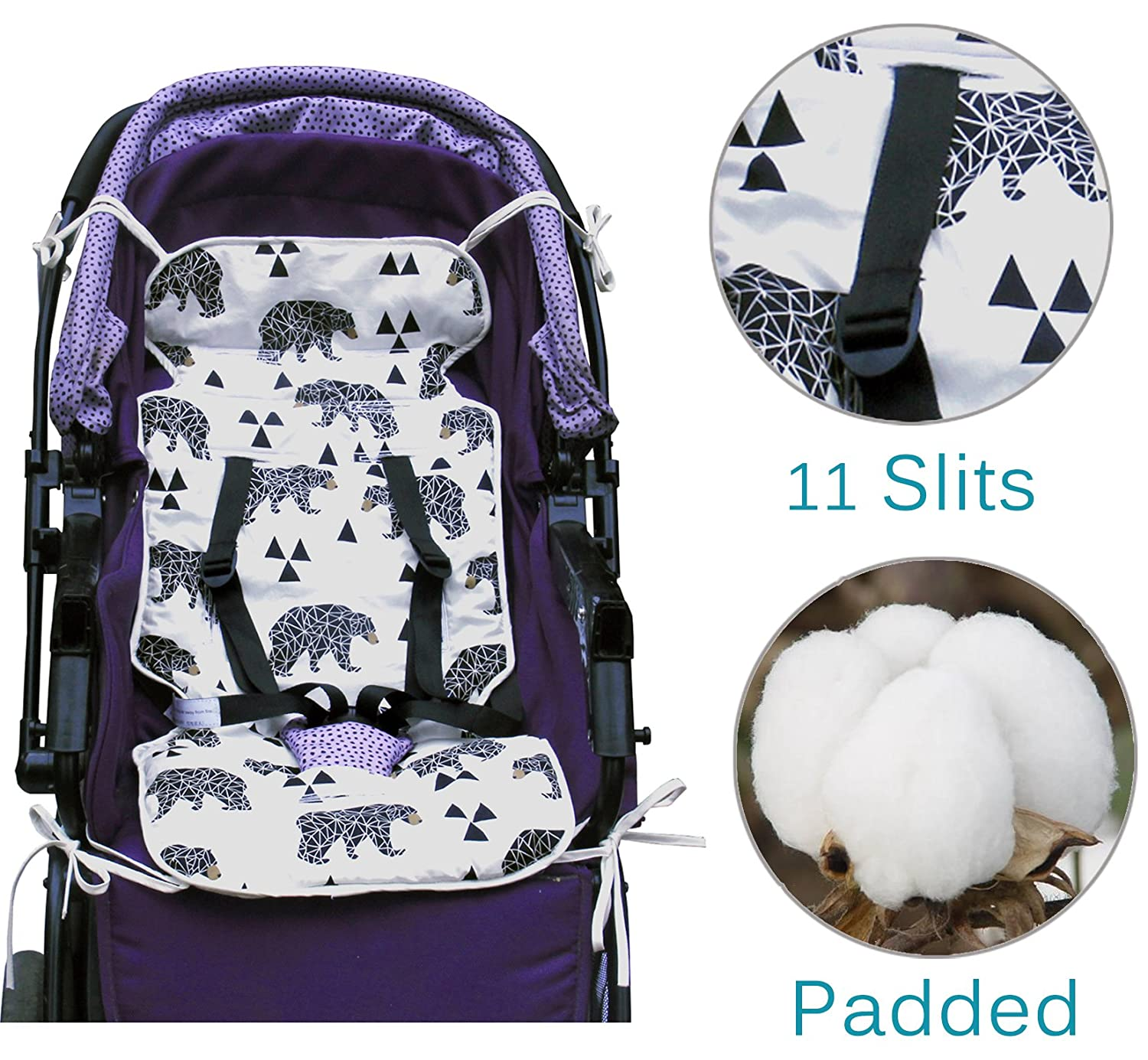 Universal Baby Stroller Seat Liner Infant Car Cushion 100 Cotton Padded