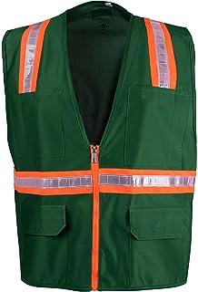 52b0e56de19d9 Safety Depot Safety Vest High Visibility Reflective Tape with 4 Lower  Pockets, 2 Chest Pockets