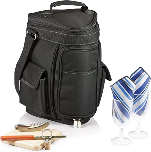 Legacy-A Picnic Time Brand Unisexs 2-Bottle Wine and Cheese Cooler One size Khaki//Brown