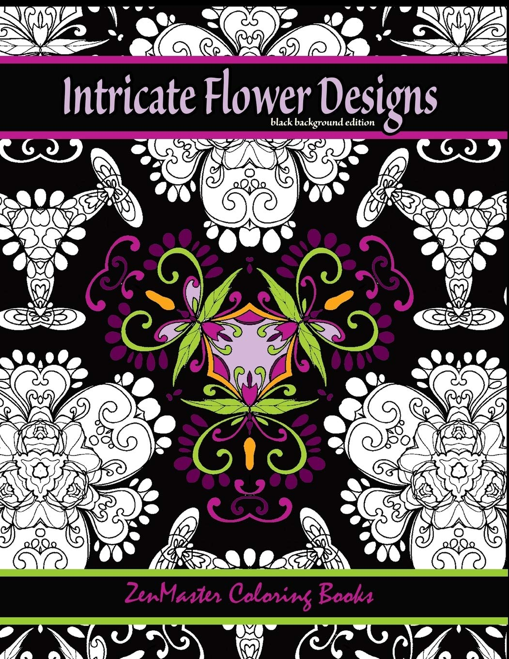 Amazon Com Intricate Flower Designs Black Background Edition