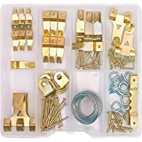 OPTNOOKS Assorted Picture Hangers   120 Pieces Set Includes Heavy Duty Wall Hooks, Nails, Wire, Screws, D-Rings, and…