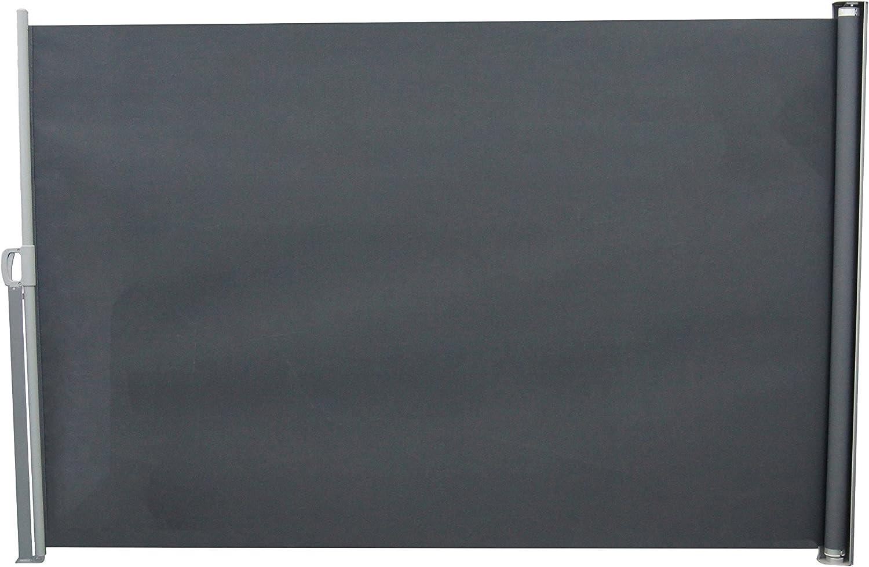 Songmics Seitenmarkise 300 x 180 cm T/ÜV S/ÜD GS zertifiziert Markisenstoff aus Polyester 280 g//m/² 2 Montagearten rauchgrau GSA180G B x H