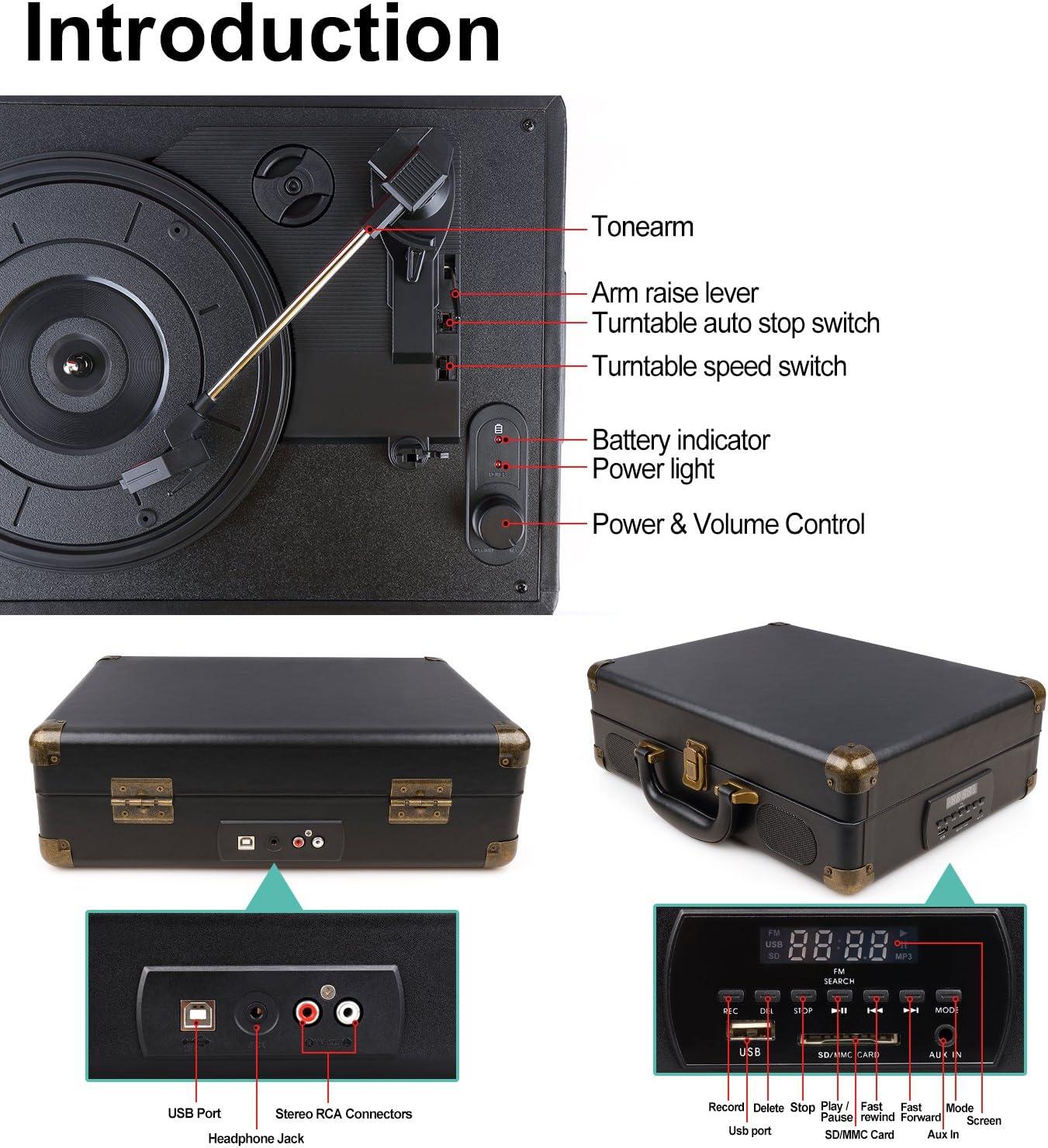 Amazon.com: GoJiaJie - Tocadiscos de vinilo con altavoces ...