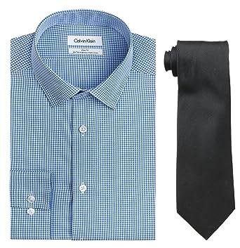 d51eee58b26b Amazon.com: Calvin Klein Men's Slim Fit Non Iron Gingham Dress Shirt and Tie  Combo: Clothing