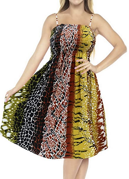 e38cc33d48029 La Leela Animal Skin Printed Partywear Short Tube Dress Smocked Backless  Multicoloured - Large