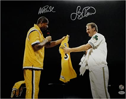 best sneakers 3728d 9161b Larry Bird Magic Johnson Signed Auto 16X20 Photo Lakers ...