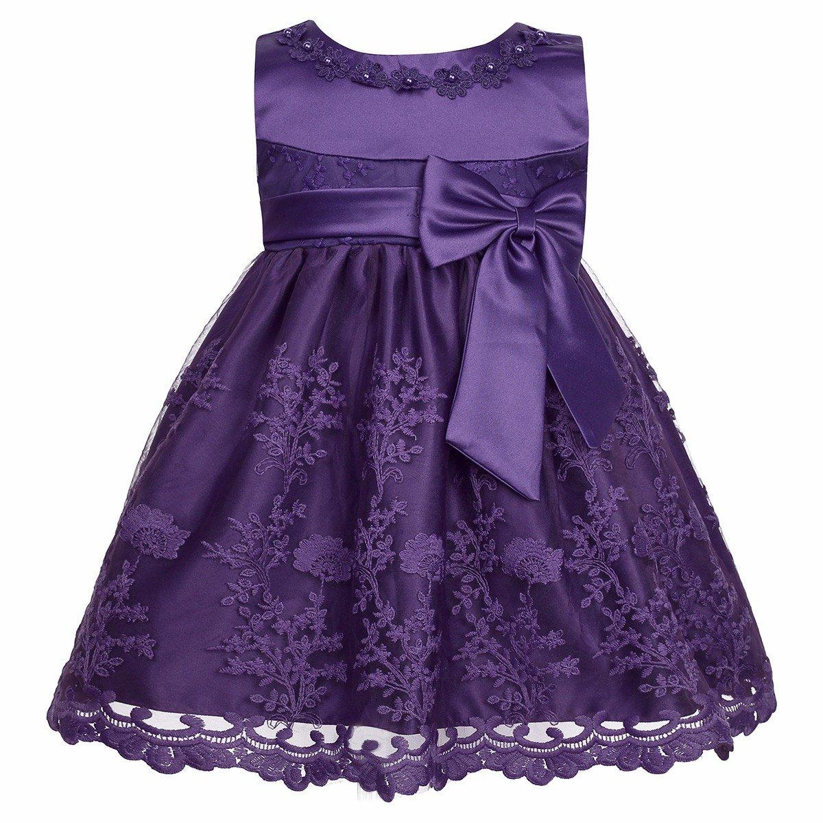 iiniim Baby Girls Toddlers Princess Rose Flower Bow Dress Wedding Bridesmaid Party Communion Dresses
