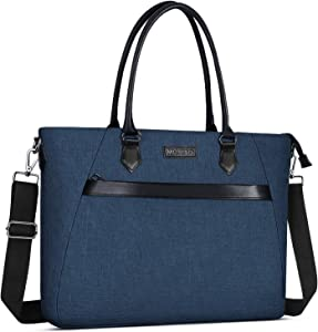 MOSISO Woman Laptop Tote Bag Up to 17.3 inch, Water Repellent PU & Polyester Work Business School College Travel Shoulder Bag with Front Trapezoid Pocket Compatible with MacBook & Notebook, Deep Teal