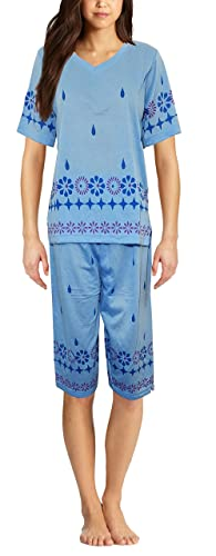 Inspirations Women's Mia Floral Print Sleeveless Top & 3/4 Bottoms Pyjama Set