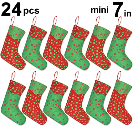 ivenf 12 pack 7 glitter round dots mini christmas stockings gift card bags holders - Small Christmas Stockings