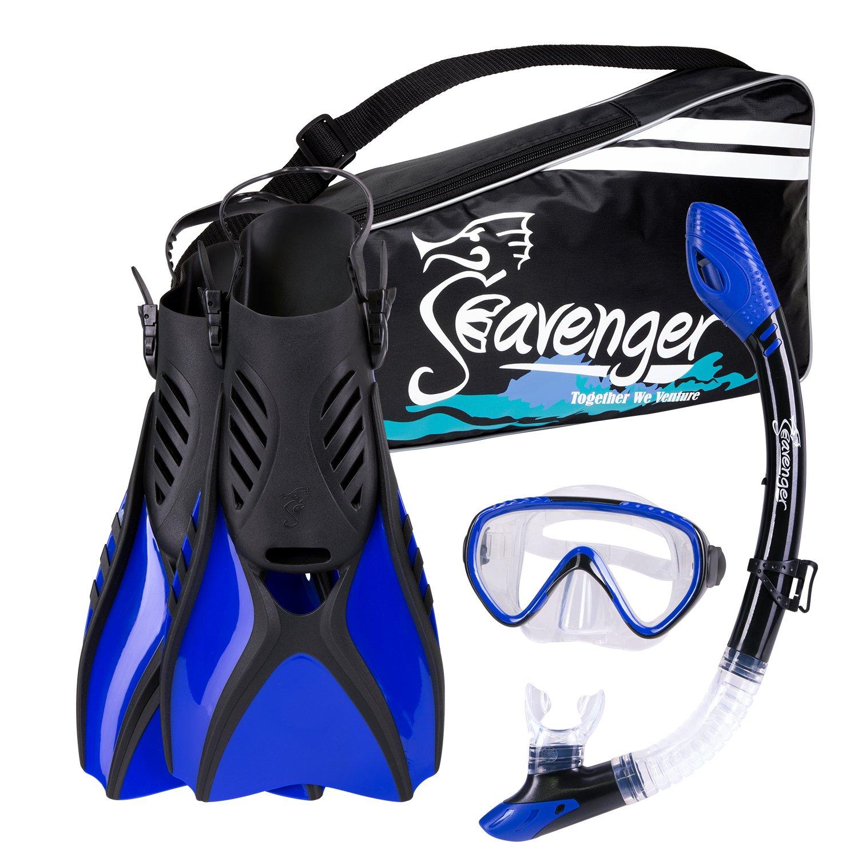 Seavenger Scuba Diving Snorkeling Mask Snorkel Fin Set with Gear Bag (Blue/Small)