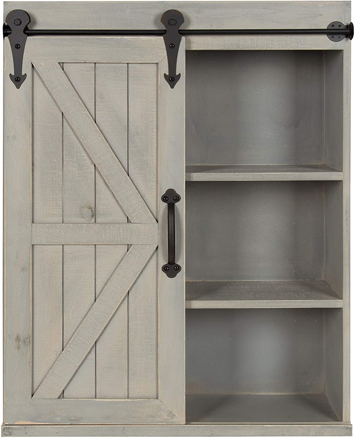 Amazon Com Kate And Laurel Cates Decorative Wood Wall Storage Cabinet With Sliding Barn Door Rustic Gray Home Kitchen