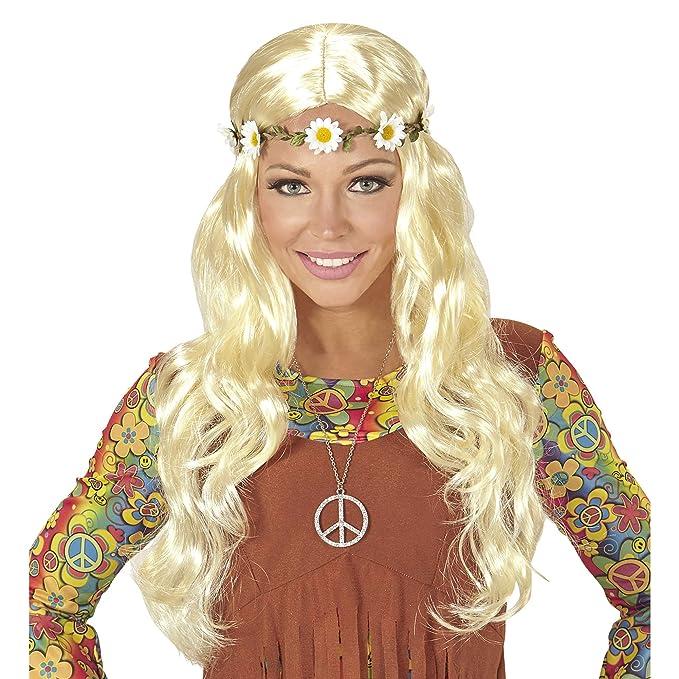 WIDMANN Hippie o Medieval Peluca de Pelo con Flor, en Bolsa ...