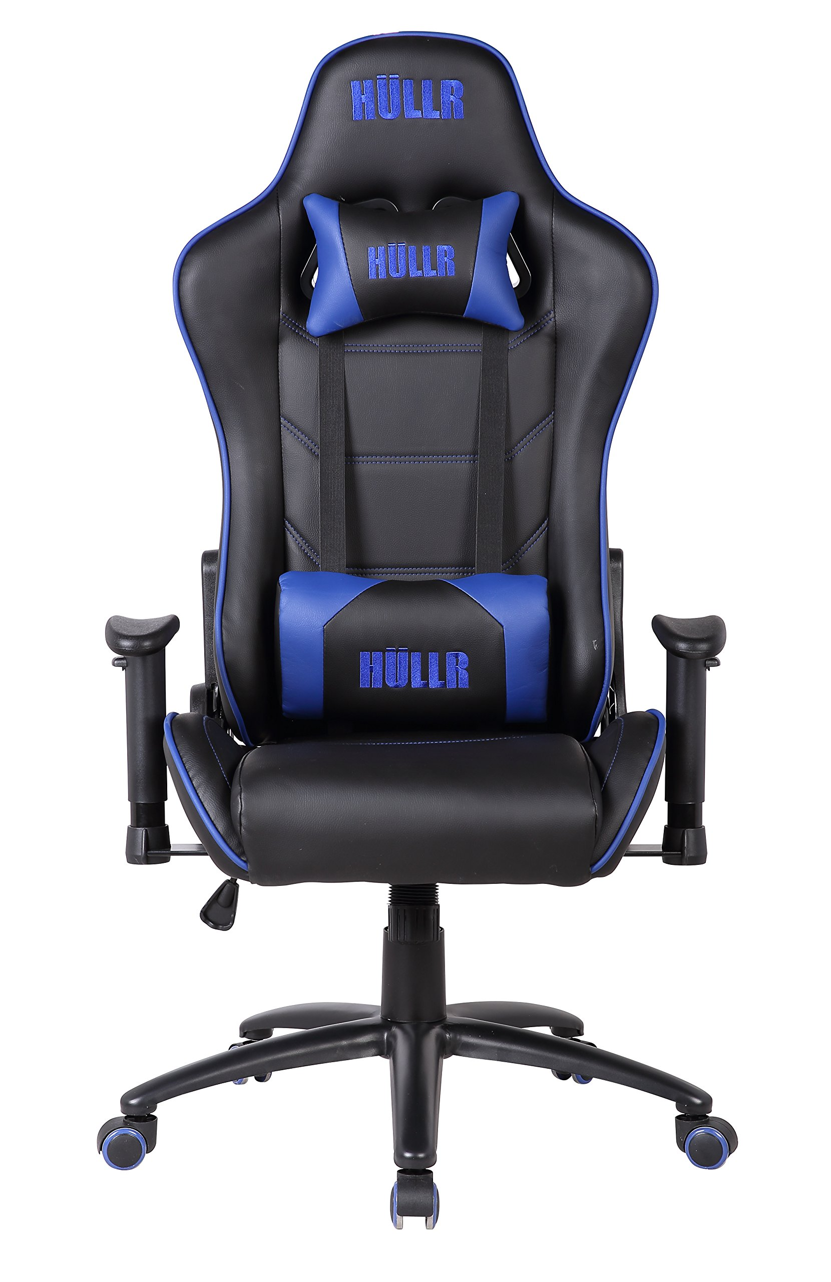 HULLR Gaming Racing Computer Office Chair, Executive High Back GT Ergonomic Reclining Design with Detachable Lumbar Backrest & Headrest (PC PS4 XBOX Laptop) (Black/Blue)