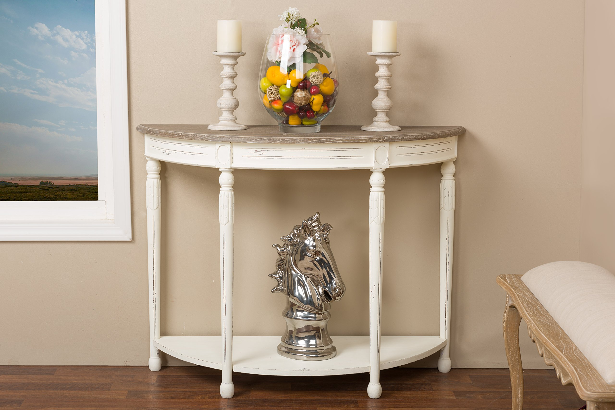 Baxton Studio Vologne Traditional Wood French Console Table, White by Baxton Studio