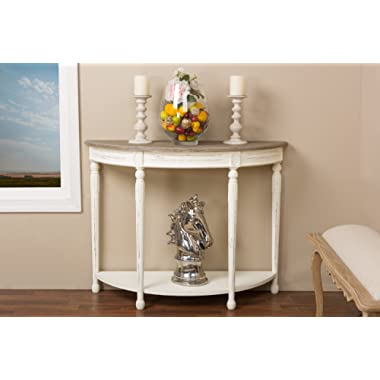 Baxton Studio Vologne Traditional Wood French Console Table, White