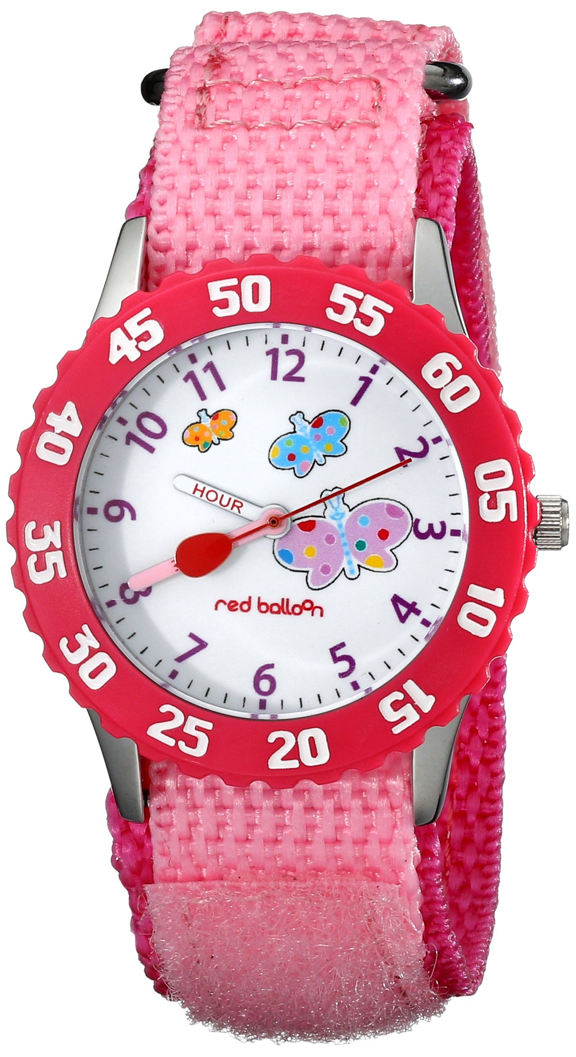 Red Balloon Kids' W000182''Butterflies Time Teacher'' Stainless Steel Watch with Pink Nylon Band