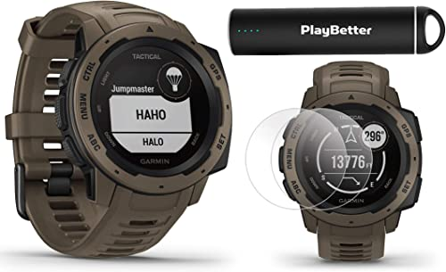 Garmin Instinct Tactical Coyote Tan Outdoor GPS Watch Power Bundle with HD Screen Protector Film Pack PlayBetter Portable Charger US Military 810G, Reinforced Housing, Stealth Mode, TracBack