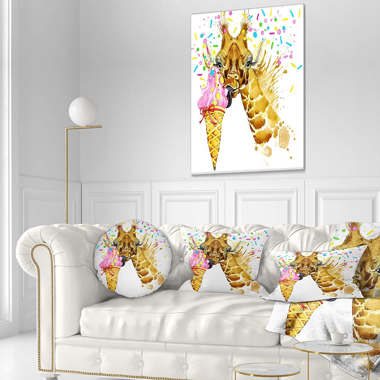 x 20 in Throw Pillow 12 in Designart CU13209-12-20 Giraffe Eating Ice Cream Watercolor Contemporary Animal Lumbar Cushion Cover for Living Room Sofa Insert Printed On Both Side