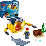 LEGO City Ocean Mini-Submarine 60263, Underwater Playset, Featuring a Toy Submarine, Pirate Treasure Chest, Hammerhead…
