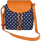 Lychee Bags Girl's Blue Canvas with PU Flap Emma Sling Bag