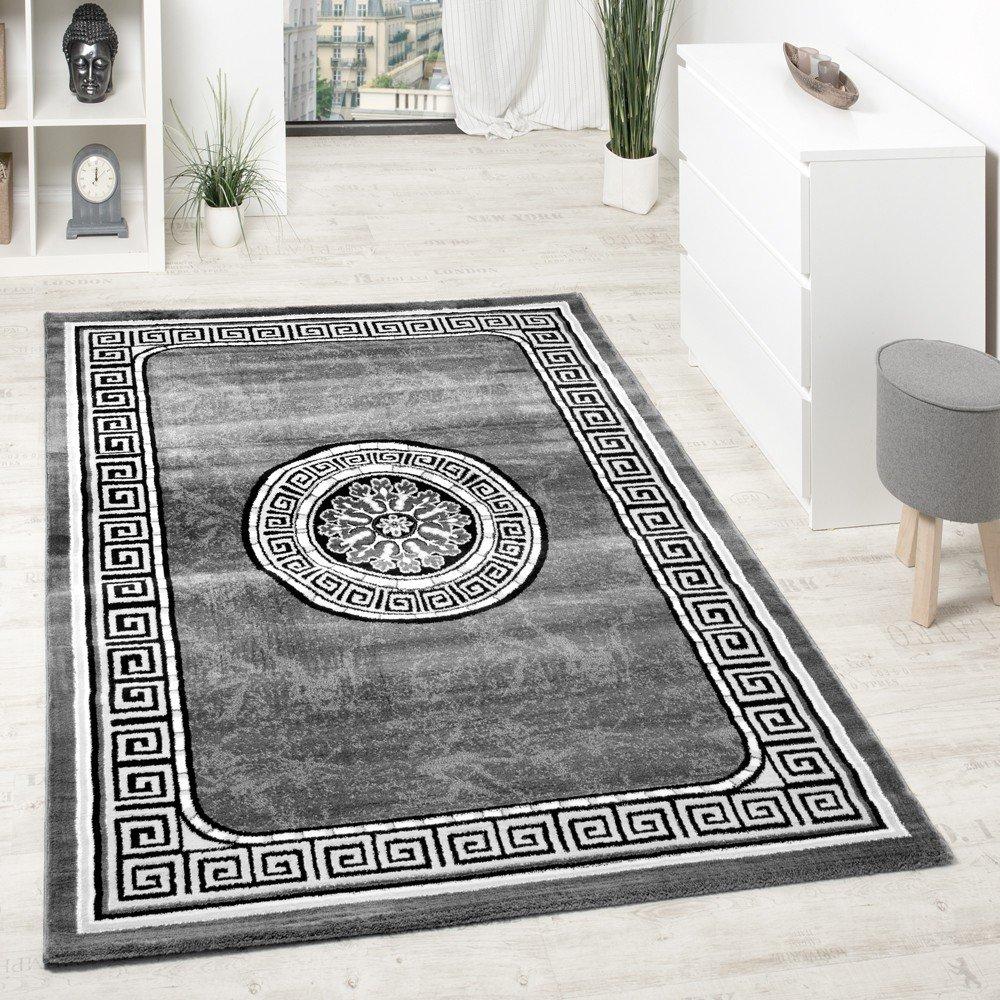 Designer Teppich Mit Glitzergarn Klassische Ornamente Bordüre Grau Schwarz  Weiß, Grösse:120x160 Cm: Amazon.de: Küche U0026 Haushalt