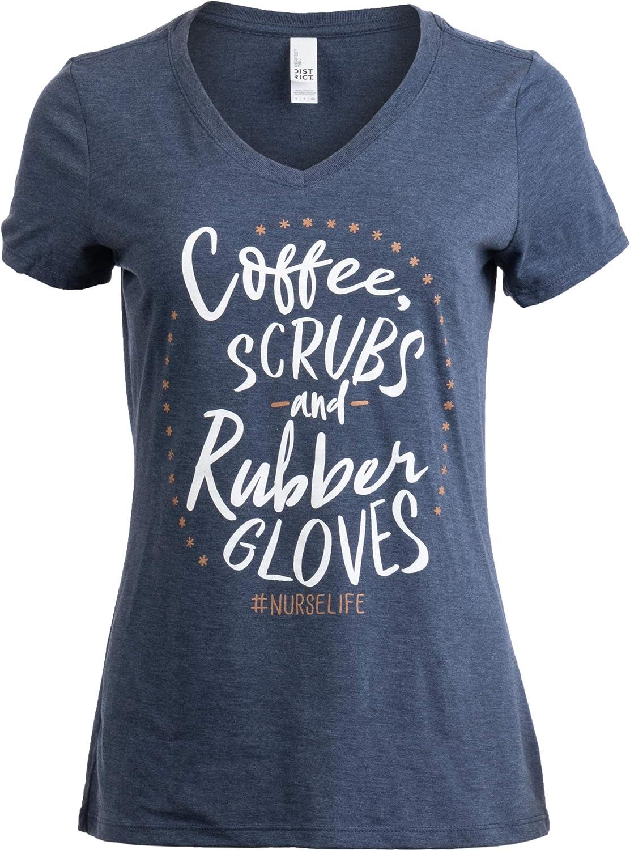 Nurse Shirt Coffee Scrubs Rubber Gloves