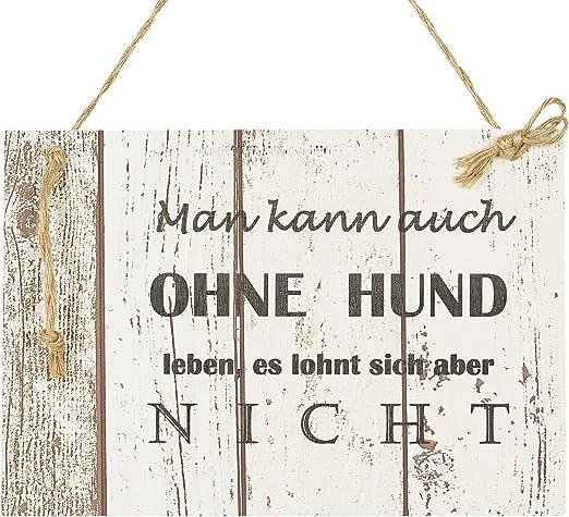 INTERLUXE Holzschild MEIN HUND MACHT DAS LEBEN Geschenk Deko Shabby Vintage