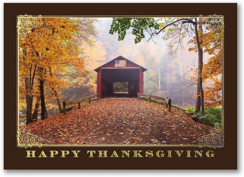 25pk Thanksgiving Covered Bridge-Thanksgiving Cards