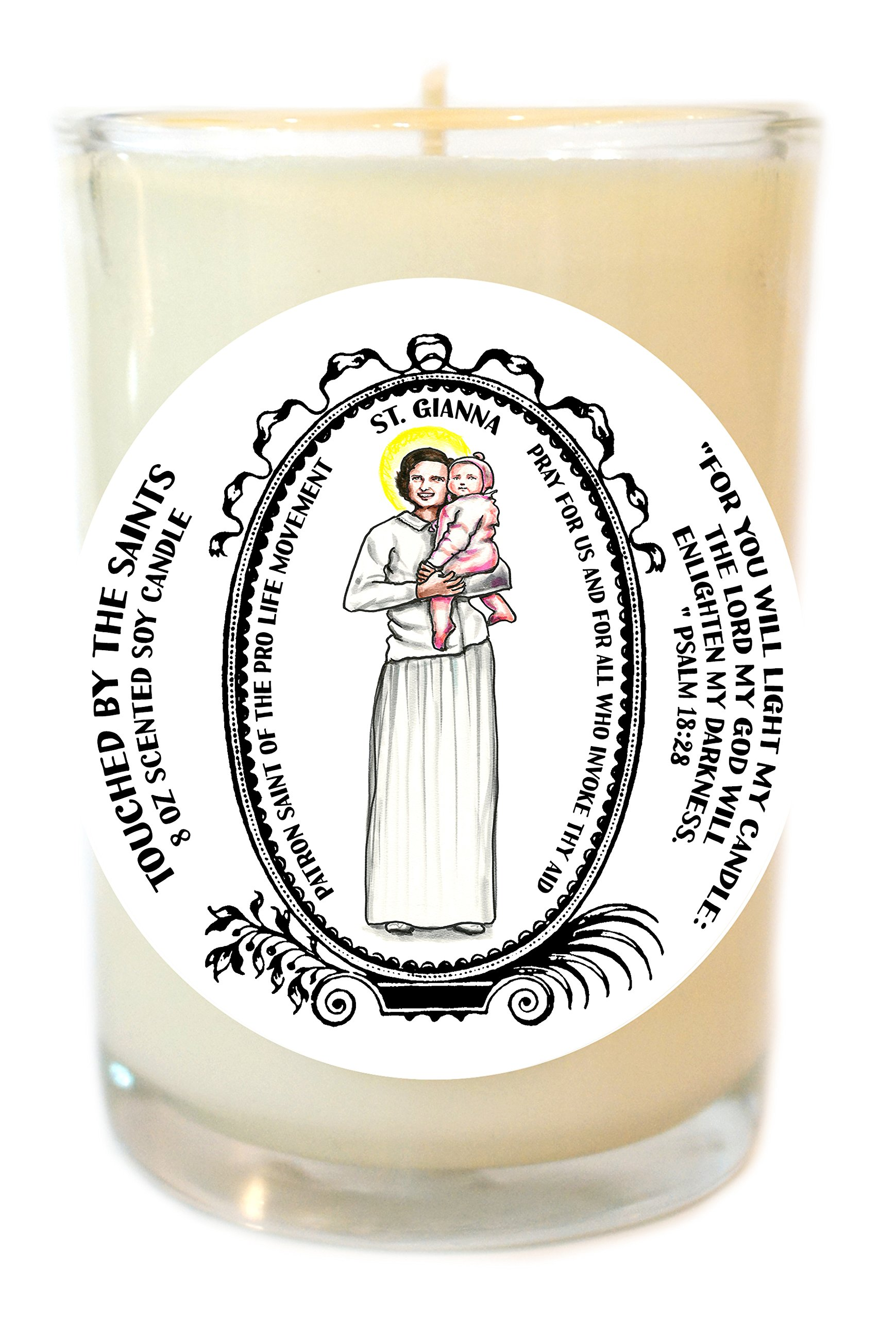 Saint Gianna Patron of Pro Life 8 Oz Scented Soy Glass Prayer Candle
