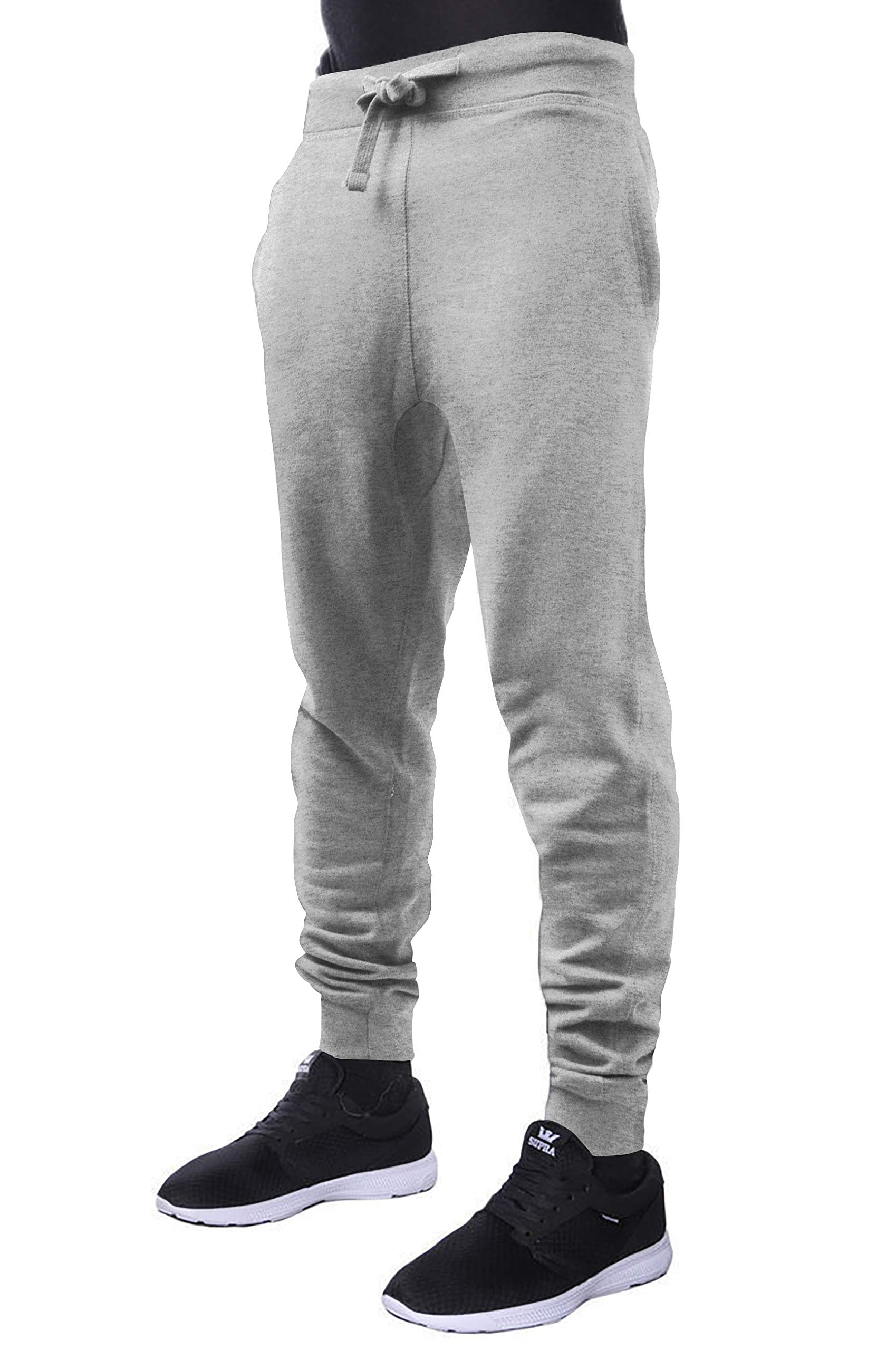 CH Mens Active Fleece Jogger Pants Casual Urban Harem Slim Fit Elastic (Large, CHJ001-Gray)