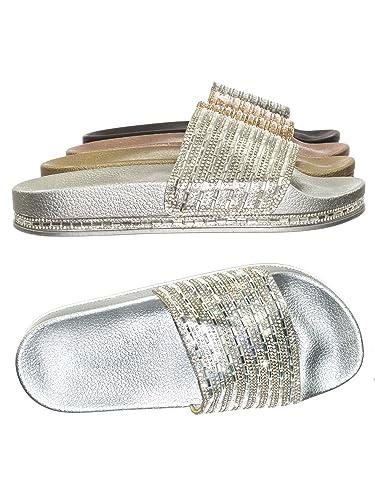 6185f2d2a808 Amazon.com | BAMBOO Womens Open Toe Jeweled Rhinostone Slide Flip Flops  Flat Sandal Slippers | Slides