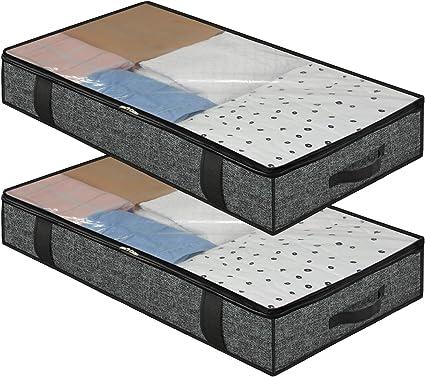Cabilock Sac de rangement sous lit pliable avec 2 compartiments sous le lit avec fen/être pour ranger les couettes les v/êtements et les draps les coussins