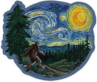 product image for Lantern Press Northwest - Van Gogh Starry Night - Bigfoot - Contour 97848 (Vinyl Die-Cut Sticker, Indoor/Outdoor, Large)