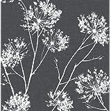 NextWall One O'Clocks Botanical Peel and Stick Wallpaper (Charcoal)