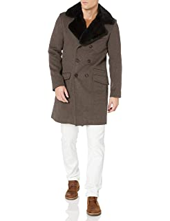 Billy Reid Mens Cashmere Double Breasted Thomas Overcoat with Leather Detail Wool Blend Coat