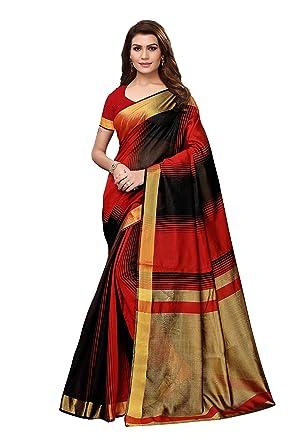 882327f61b Sretan Women's Cotton Silk Saree with Blouse (Black): Amazon.in ...