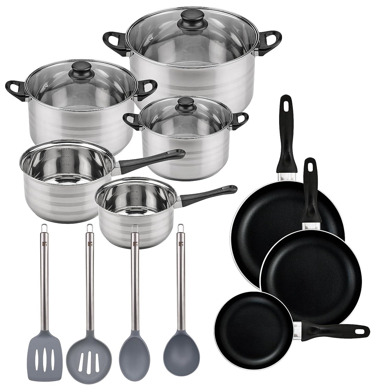 Batería de cocina SIP 8 piezas (dos cazos + tres ollas con tapa de vidrio) con Set de 3 sartenes Ø16/20/24 cms., inducción, y Set de 4 utensilios de cocina: ...