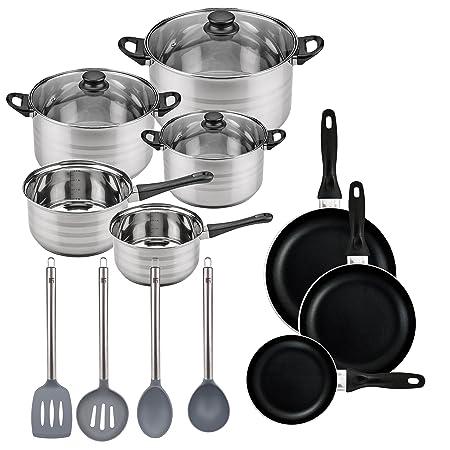 Batería de cocina SIP 8 piezas (dos cazos + tres ollas con tapa de vidrio) con Set de 3 sartenes Ø16/20/24 cms., inducción, y Set de 4 utensilios de ...